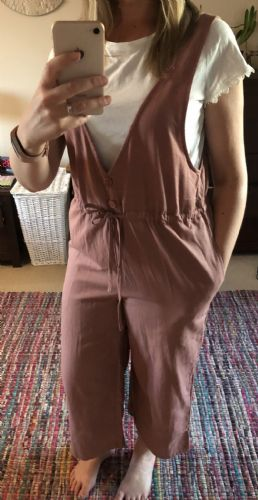 ROSE PINK WIDE LEG PINAFORE JUMPSUIT BNWT SIZES 12-18